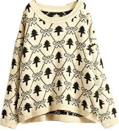 Beige Long Sleeve Christmas Tree Pattern Sweater US$31.96