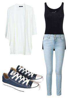 """""""Untitled #182"""" by elizabethduff ❤ liked on Polyvore featuring Juvia, Frame Denim, MANGO and Converse"""