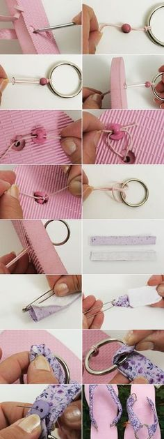 flip flop project pink sandals purple fabric metall ring