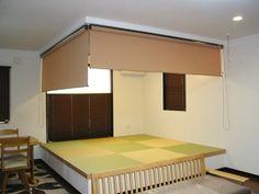 小上がり畳コーナー ロールスクリーンで目隠し Loft, Building, Houses, Furniture, Home Decor, Homes, Decoration Home, Room Decor, Buildings