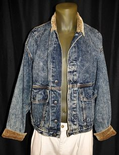 Vintage 80's Men's Small Levi's Stone Washed Jean Trucker Jacket Corduroy Cuffs