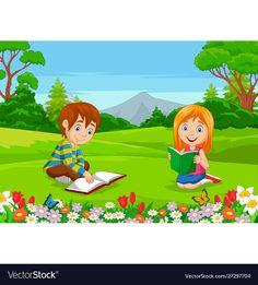 Cartoon boy and girl reading books in park vector image on VectorStock Girl Reading Book, Reading Books, Doodle, Logo Floral, Cartoon Boy, Adobe Illustrator, Boy Or Girl, Books To Read, Park
