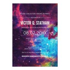 Shop Custom Colorful Galaxy Wedding Rehearsal Dinner Invitation created by RenImasa. Personalize it with photos & text or purchase as is! Bachelor Party Invitations, Bar Mitzvah Invitations, Graduation Party Invitations, Rehearsal Dinner Invitations, Baby Shower Invitations, Custom Invitations, Wedding Invitations, Wedding Rehearsal, Galaxy Party