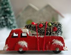 Vintage Red Tootsie Toy Fire Truck with Bottle by ScrappyBird, $14.50