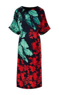 Hidden Jungle Printed Midi Dress by Clover Canyon Now Available on Moda Operandi