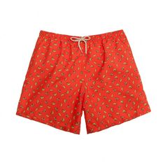 Swimming trunks with a bananas pattern over a orange background. Ocoly swim  shorts have a vintage style with a water resistant material designed for  quick ... 8ba35f5543502