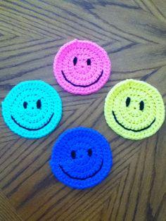 Crochet Smiley Face Coaster Set by JennySquareCrochet on Etsy, $13.00