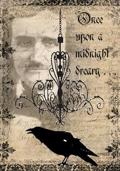 "Quoth the Raven, ""Nevermore"" Thinking of Halloween yet? Can't get much spookier than Edgar Allan Poe. This is x 5 inches, 300 dpi. Holidays Halloween, Halloween Crafts, Halloween Decorations, Vintage Halloween, Halloween Diorama, Halloween Punch, Halloween Countdown, Halloween Images, Halloween Quotes"