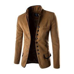 Gentleman's Stylish Retro Woolen Suit Stand Collar Single Breasted Edging Suit Coat
