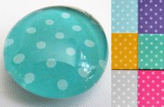 Glass Magnets, Polka Dots, Choose Color, Round Bubble Magnet, Flat Glass Marble Magnet, Birthday Gift, School Locker, Office Organization by MarysManyMakings on Etsy