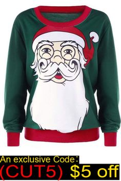 aa77ee74cb Ericdress Christmas Regular Cartoon Print Long Sleeve Round Neck Hoodie