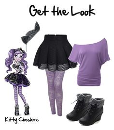"""Get the Look - Ever After High - Kitty Cheshire"" by pandakatcosplay ❤ liked on Polyvore featuring Versace, Doublju and Refresh"