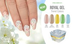 The royal family of color gels is ready for the sunshiny season! Coral Blue, Blue Green, Royal Gel, Crystal Nails, Manicures, Color Trends, Beige, Crystals, Spring