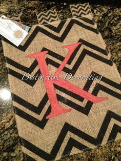 burlap chevron garden flag with coral handpainted initial