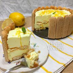 receta de charlota de limon Baby Food Recipes, Gourmet Recipes, Tapas, Food Gift Baskets, Gourmet Food Gifts, Pie Cake, Tiramisu, Cheesecake, Pudding