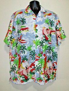 43f3a274 Waikiki Creations L Hawaiian Shirt Christmas Surfing Santa Tiki Reindeer  Funny