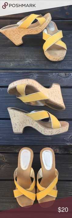 "Mustard yellow wedges🌻 •Trim around the yellow is a light golden color •Lightly worn •Heel is 4"" with a 1"" platform •Excellent condition!  🎀check out the FREE with purchase items🎀 Shoes Wedges"