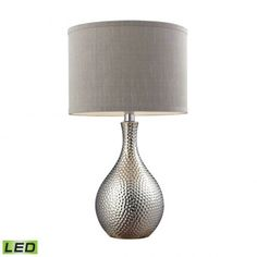 Hammered Chrome Plated LED Table Lamp With Grey Faux Silk Shade, ,