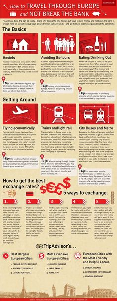 Travel and Trip infographic How to travel through Europe and not break the bank. – Infographic Ledo… Infographic Description How to travel through Europe and not break the bank. Travel Info, Budget Travel, Cheap Travel, Europe On A Budget, Travel Money, Travel Stuff, Travel Rewards, Travel Hacks, Travel Essentials