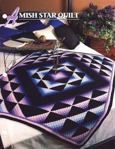 Amish Star Quilt Crochet Pattern Throw Blanket Annies Attic