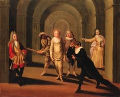 Actors from the Commedia Dell'Arte in an Arcade, by Claude Gillot (1673-1722) France