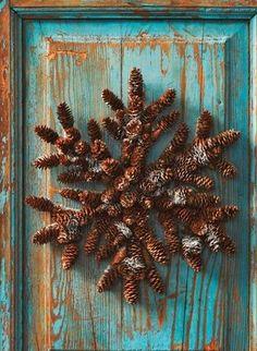 Prim Pine Cone...snowflake wreath.
