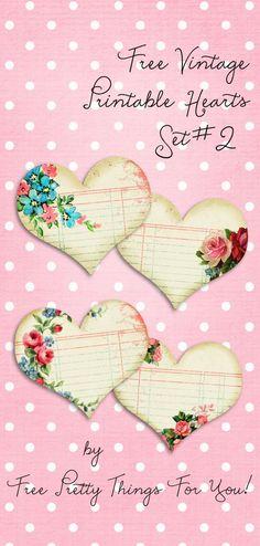 Vintage Printable Hearts Set No. 2