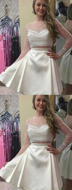 two pieces homecoming dresses short,short white homecoming dresses 2017,long sleeves homecoming dresses,short prom dress with sleeves,short Ivory prom dress short,cheap homecoming dresses with beading
