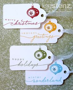 These are very simple tags to make, however, they look festive, especially with the script writing and rhinestone attached!