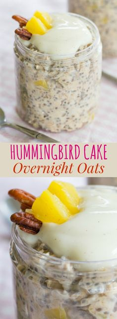 Hummingbird Cake Overnight Oats - all the flavors from the classic southern cake recipe in a protein-packed breakfast made with Gluten free, dairy free, vegan Oatmeal Recipes) Sin Gluten, Granola, Brunch Recipes, Breakfast Recipes, Breakfast Ideas, Brunch Ideas, Dessert Recipes, Hummingbird Cake, Biscuits