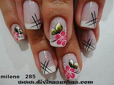 Unhas Decoradas com Flores vermelhas com xadrez preto Spring Nails, Summer Nails, Cute Nails, Pretty Nails, Hair And Nails, My Nails, Flower Nail Art, Nagel Gel, Nail Decorations