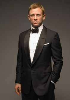 Love this tuxedo look that Daniel Craig wears. However, I wouldn't go with a bow tie for our wedding.
