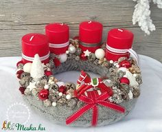 Hintalovas adventi koszorú (madarkamuhely) - Meska.hu Christmas Candles, Winter Christmas, Christmas Wreaths, Handmade Christmas Decorations, Holiday Crafts, Holiday Decor, Advent Wreath, Diy And Crafts, Centerpieces