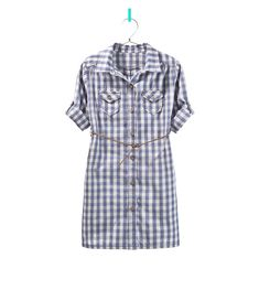 CHECK SHIRT DRESS WITH BELT - Dresses - Girl - Kids | ZARA United States