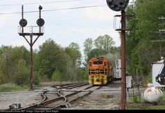 BPRR 3344   Description:  SIRI- Salamanca to Riker waits for RISI at Mount Jewett. This meet usually occurs in Johnsonburg but took place here instead due to flooding.   Photo Date:  5/22/2014  Location:  Mount Jewett, PA   Author:  Dave Eagen  Categories:  Signal,Action  Locomotives:  BPRR 3344(SD40-3)