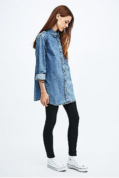 Shop BDG Acid Wash Denim Shirt at Urban Outfitters today. Passion For Fashion, Love Fashion, Girl Fashion, Fashion Outfits, Urban Outfitters, Denim Shirt Dress, Denim Shirts, Jean Délavé, Things To Do With Boys