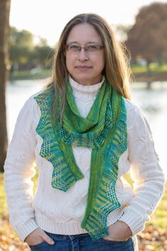 Lovebird Scarf by designer LaurieBea.  Fingering and lace weight yarns knit together - via @Craftsy