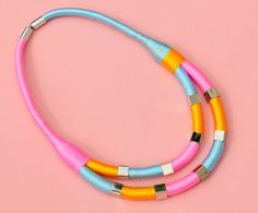 Colorful color block rope necklace pink yellow blue and by BeataTe