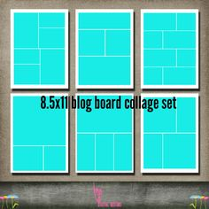 Blog Board Bundle Set Collection of 6 11x8.5 or 16x20 Template Collage Storyboard psd files INSTANT Download for photographer simple setkmpdigitaldesigns, $9.00