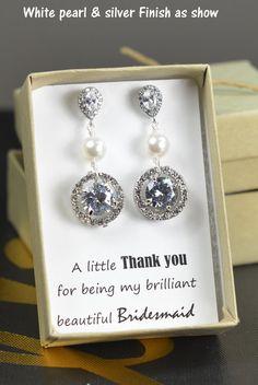 Bridesmaids Earrings,Personalized Bridesmaids Gift,Crystal Stud Earrings,Bridesmaids Gifts,Spring Wedding , bridesmaid card ,pearl silver