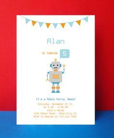 INSTANT  DOWNLOAD -  Robot Invitation Card  - Editable Pdf - Diy Printable - Digital File - Robot Birthday Party