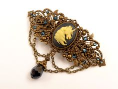 Hairclip with unicorn cameo in darkblue bronze, fantasy hair jewelry, girls barrette - pinned by pin4etsy.com