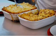 Gordon Ramsay: Shepherd's pie. The first time I made this, I used pork and it was yum. The second time, I made a healthier version with ground chicken, used half cauliflower and half potato for the topping, and veggie soup stock that was made a few days ago rather than chicken. Still awesome!