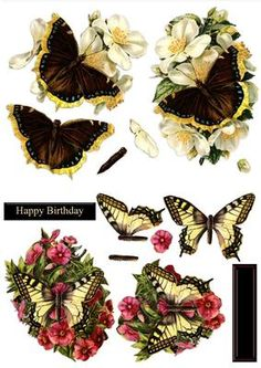 Butterflies Flowers Duodecoupage on Craftsuprint designed by Russ Smith - Two large decoupage toppers and sets of decoupage layers using vintage paintings of butterflies and flowers. - Now available for download!