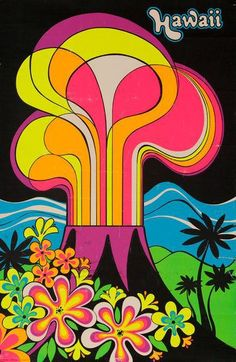 A vintage Hawaii poster. The poster not only has a bright, eye-catching color scheme, but the whole scene depicted can easily be identified as a Hawaiian landscape. The hand made font also harmonizes well with the shapes and lines of the poster's art. Retro Poster, Poster Vintage, Vintage Travel Posters, Vintage Hawaii, Art Vintage, Retro Art, Illustrations Vintage, Illustration Art, Op Art