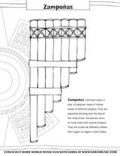 Color the zampoñas, a type of panpipes that can be heard widely in Andean music.