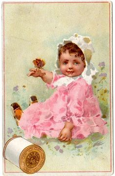 J P Coats Victorian Trade Card Best Six Cord Thread Sewing Machine Baby Ad