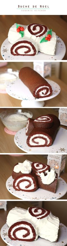 Super yummy & easy as 1-2-3! Buche de Noel (Yule Log Cake)
