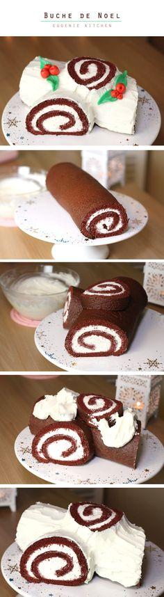 Super yummy & easy as 1-2-3! Buche de Noel (Yule Log Cake)
