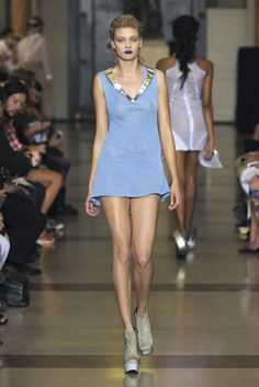 Runway. Love this baby blue dress with open back.